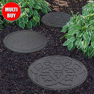 Recycled Rubber Stepping Stone - Grey - Walkway Path Paving Landscaping - 2 PACK
