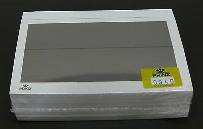 Prinz white stockcards 156x112mm with black imprint - 2 strips pack of 100 cards