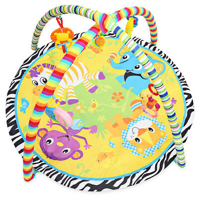 Baby Infant Soft Play Mat Cartoon Animal Gym Fitness Blanket Rattle Crawling Toy
