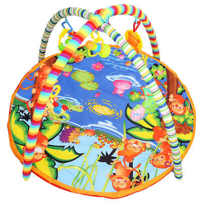 Baby Kid Soft Play Mat Cartoon Animal Gym Blanket with Frame Rattle Crawling Toy