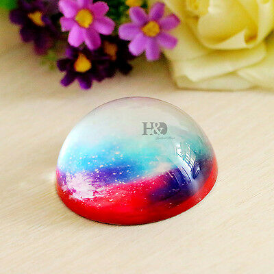 1 Starry Sky Cut Beauty Paperweight 80mm Half-ball Crystal Decor Office Ornament