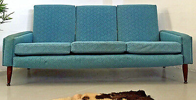 Quality Vintage Rare Retro Mid Century 50S Fabric And Teak Sofa