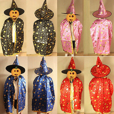 Childrens' Halloween Costume Wizard Witch Cloak Cape Robe and Hat for Boy Girl