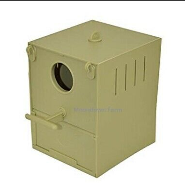 Budgie Nest Box Plastic With Perch And Hooks To Front & Rear for Aviary / Cages