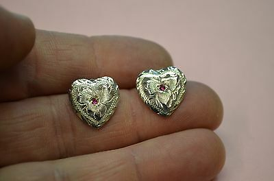 STERLING SILVER Hand Engraved Heart CONCHO EARRINGS w/ Red Stone * COWGIRL DRESS