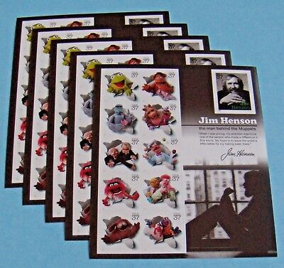 Five Sheets x 11 = 55 JIM HENSON & The Muppets 37¢ US Postage Stamps. Sc # 3944