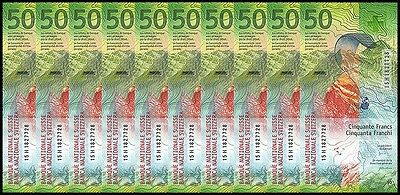 Switzerland 50 Francs X 10 Pieces (PCS), 2015, P-NEW, UNC