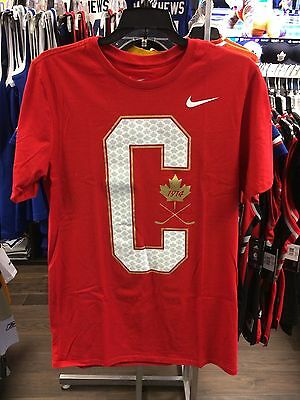 2017 World Juniors Championship Team Canada Big C Red Cotton IIHF T Shirt Large