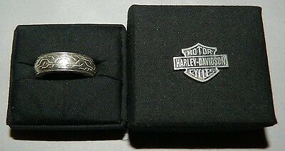 Harley Davidson Sterling Silver Spinner Ring With Tread Design And Box - Size 13
