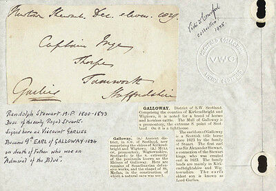 Randolph (Earl Of Galloway Ix) Stewart - Autograph Letter Fragment Signed