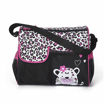Premium Cute Animal Printed Waterproof Nappy Changing Diaper Bag - Pink Leopard