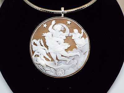 Museum quality Master Hand carved Sardonyx cameo set in Italian silver-signed
