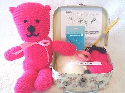 Beginners Knitting Kit & Sewing Box With Accessories Make Your Own Teddy Bear!!