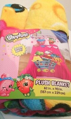 "Shopkins Shopping Basket Characters Plush Blanket 62"" x 90"" Girls Bedroom"