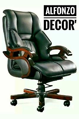 Office Boss Desk Executive Chair Computer Seat Coach Leather Padded Luxury Wood