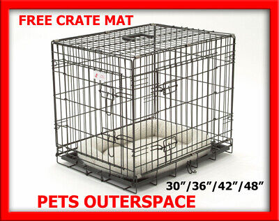 Dog Crate Wire Cage Collapsible 2 Door ABS Tray Pet Puppy 30 36 42 48 FREE MAT