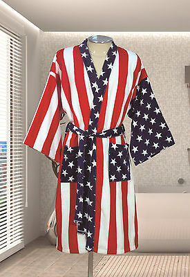 American Flag Kimono Robe Terry Velour 100%Cotton