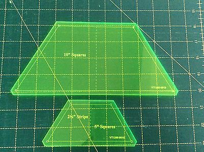 """Half Hexagon Templates x 2. For use with 10"""" or 5"""" squares or 2 1/2"""" strips"""