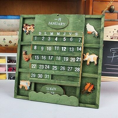 Retro Wooden Wall Perpetual Calendar Home Decoration Daily Desktop Decor