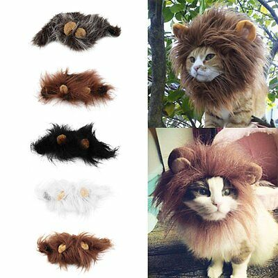 Pet Costume Lion Mane Wig for Cat Halloween Christmas Party Dress Up With Ear~@#