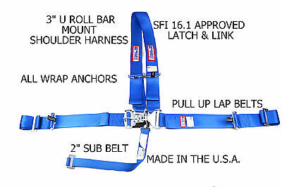 5 Point All Wrap U Racing Harness Sfi 16.1 Latch & Link Blue Pull Up Rjs