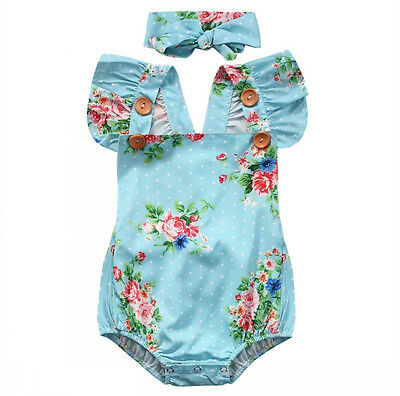 Floral Baby Girls One-pieces Bodysuit Romper Backless Sunsuit Clothes Headband