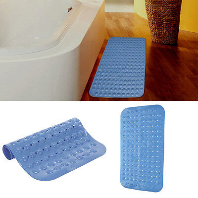 Large Foot Massage Anti Rubber Non Slip Bathroom Shower Mat Strong Suction Blue