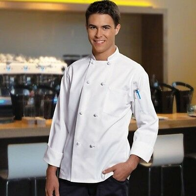 White Chef Coat With 8 Knotted Button 100% Cotton