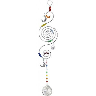 Chakra Pentacle Sun Catcher Wicca Witch Suncatcher Hanging Crystal Pentagram