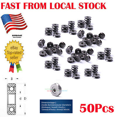 50pcs 3x12x4mm HCS V Groove Guide Pulley Rail Ball Bearings Wheel Ship from US