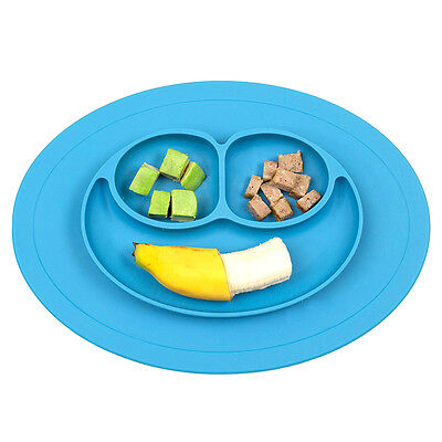 For Baby Silicone Children Placemat Feeding Tray Mat Plate Bowl Tableware Blue