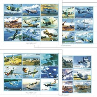 Airplanes Planes Aviation Art Wwii Air Combat 8 Souvenir Sheets Mnh