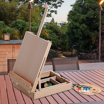 HOMCOM Beech Wood Table Easel Art Painting Box Lightweight Adjustable Portable