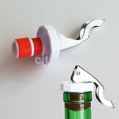 1PC Plastic Bottle Stopper Sealed Red Wine Plug Stainless Steel Reusable Cap AU