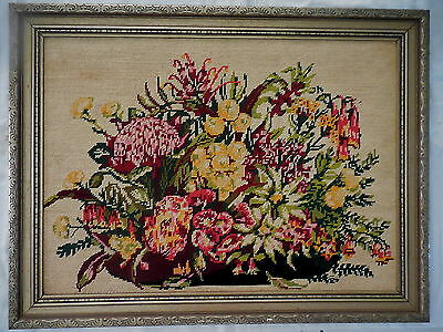 Tapestry Craft Picture Completed &  Framed Flowers Austral 77  X 58.5 Cm