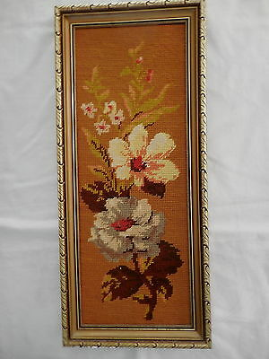 Tapestry Craft Picture Completed & Framed Flowers Gilt Frame 53 X 23 Cm