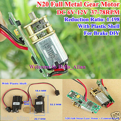 Mini N20 Full Metal Gearbox Gear Motor 78RPM Speed Reduction with Plastic Shell