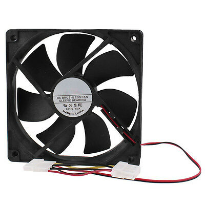 PC Brushless DC Cooling Fan 4 Pin Connector 7 Blades 12V 12cm 120mm BT
