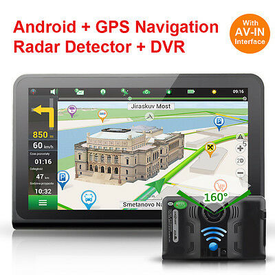 7 inch Car DVR Android4.4 Quad Core Radar Detector with GPS Navigation Tablet PC