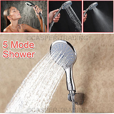 5 Mode Function Shower Head Universal Chrome Anti-Limescale Bathroom Handset NEW