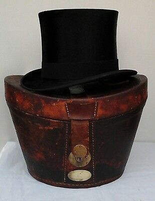 Vintage Lincoln Bennett Silk Top Hat in Leather Box,  Size 6 7/8, C. 1910, Ascot