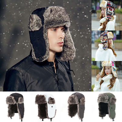 Unisex Hot Warmer Earflap Winter Cap Russian Trapper Bomber Winter Snow Ski Hat