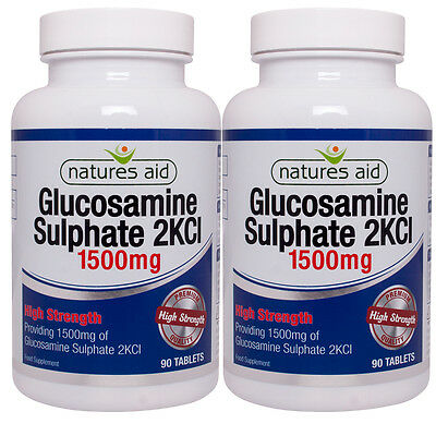 Natures Aid Glucosamine Sulphate 2KCl 1500mg 2 x 90 Tablets