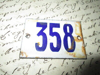 "Antique French Enamel Metal Door House -Gate Number Sign white& blue ""358"""