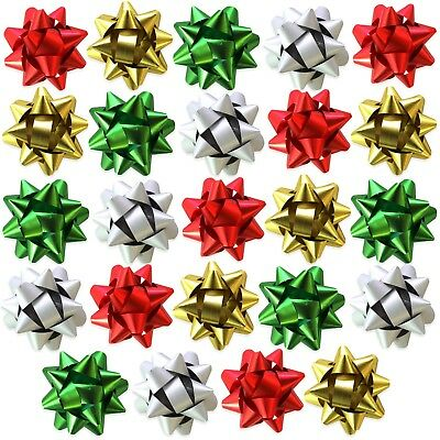 Pack of 24 Metallic Christmas Present Gift Bows - 4cm (Silver, Gold, Red, Green)
