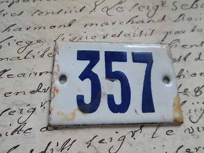 """Antique French Enamel Metal Door House -Gate Number Sign white& blue """"357"""""""