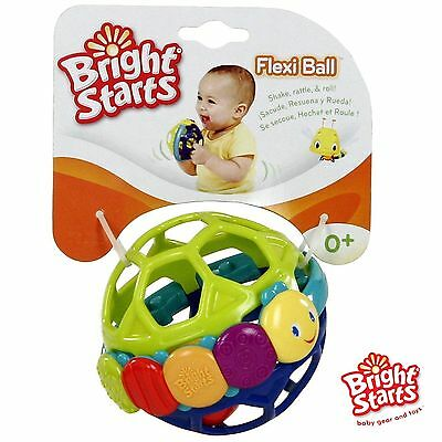 Bright Starts Flexi Ball Colourful Baby Rattle Soft Textured Teething Toy