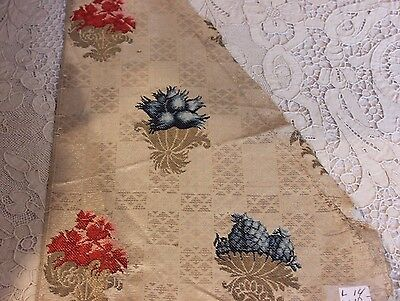 Antique French Or Italian 18thC Silk Brocade Metallic Textile Fabric~Collectors