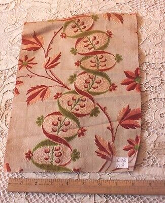 "Antique French 18thC Silk Brocade Home Textile Fabric~12""L X 9""W"