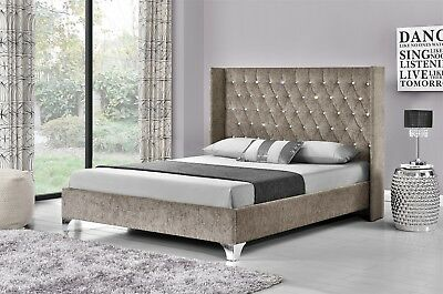 Double Winged Upholstered Fabric Bed Frame Velvet Chenille Double or King Size